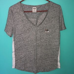 PINK gray & white vneck with sequin dog